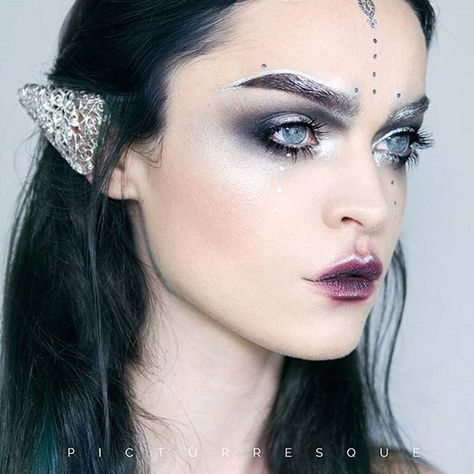 """Regina from @picturresque has knocked it out of the park again with this """"Moon Elf"""" look featuring Furless silver pigment in Counterfeit!  Shop: http://furlesscosmetics.com/silver-loose-eyeshadow-pigment/"""