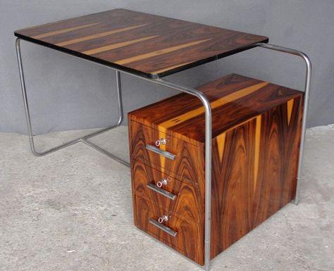 Stahlrohr Chrom Schreibtisch Desk Palisander Thonet Weil B282