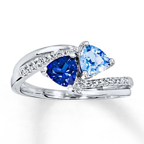 Lab Created Sapphire Ring 1 15 Ct Tw Diamonds 10k White Gold Fashion Rings White Gold Diamond Engagement Rings