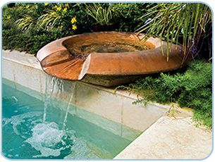 Copper Wok Pedestal Pool Fountain Pool Water Features Pool Fountain Pool Waterfall