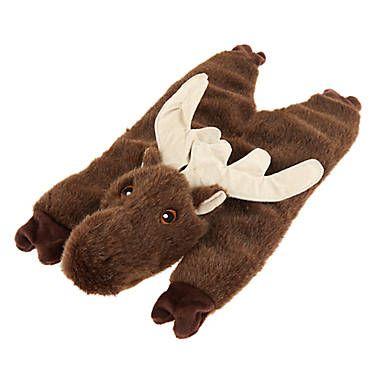 Top Paw Realistic Moose Flattie Dog Toy Crinkle Squeaker Dog