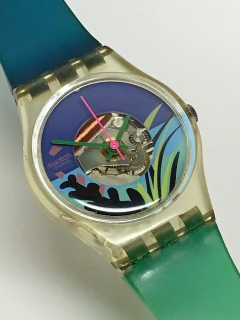 Vintage Ladies Swatch Watch Black Coral 1986 Blue Green Jelly Clear Skeleton Retro Christmas Gift by ThatIsSoFunny on Etsy