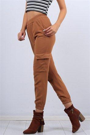 Dar Bilek Taba Bayan Kargo Pantolon 10324b Kargo Pantolon Kadin Giyim Pantolon