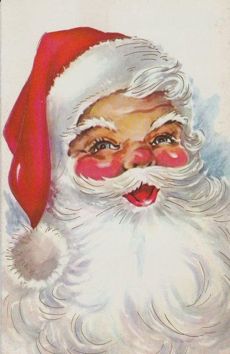 Ideas Vintage Christmas Paintings Noel For 2019 Vintage Christmas Images, Old Christmas, Christmas Scenes, Father Christmas, Retro Christmas, Vintage Holiday, Christmas Mantles, Silver Christmas, Christmas Villages
