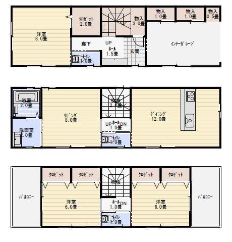 40坪ビルトインガレージのある3階建ての間取り 三階建て 間取り 三