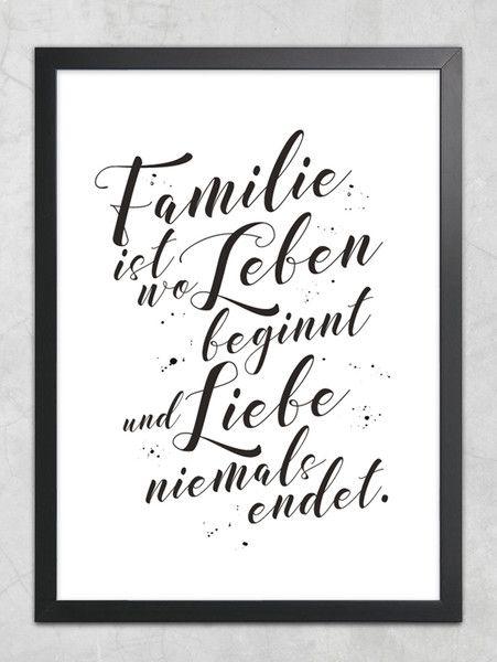 """Inspirierende Zitate zu den Themen Familie Digitaldruck - """"Familie ist wo Leben beginnt..."""" Kunstdruck - ein Designerstück von jolanswelt bei DaWanda"""