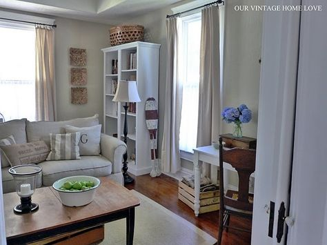 Love this living room-and the drop cloth curtains