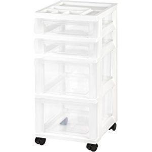 Iris 4 Drawer Rolling Storage Cart With Organizer Top White Rolling Storage Cart Rolling Storage Storage Cart