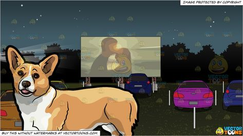 A Corgi Pet Dog and Drive In Movie Theater Background