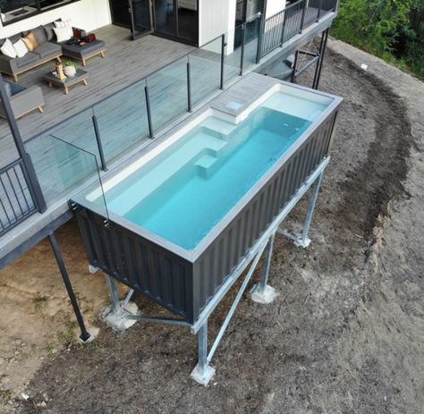 Shipping Container Pools are above ground pools built from shipping containers with a fiberglass pool insert. Each pool is pre-assembled with the plumbing under the decking and with the chid safety door and stairs, you would not need any fencing. Shipping Container Swimming Pool, Shipping Container Home Designs, Shipping Containers, Shipping Container Buildings, Building A Container Home, Storage Container Homes, Cargo Container, Shipping Container Storage, Container Store
