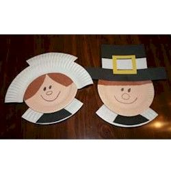 "I did these today with my kids and wrote ""If I Were a Pilgrim.."" stories. Too cute - Pilgrim craft using paper plates."