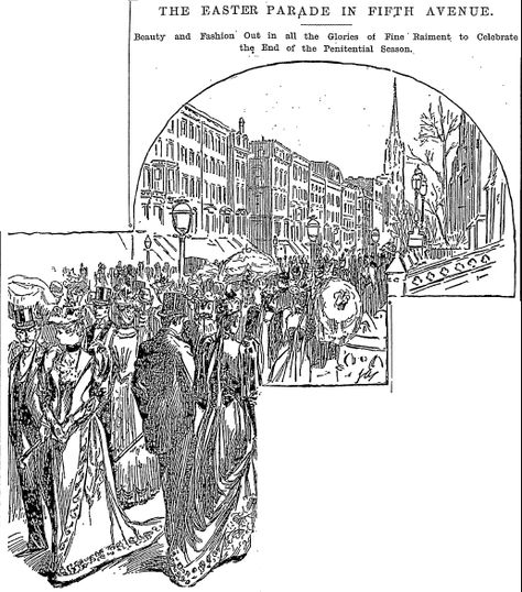"An illustration of New York's Fifth Avenue Easter Parade, published in the New York Herald (New York, New York), 18 April 1892. Read more on the GenealogyBank blog: ""Our Ancestors' Easter Parades & Spring Fashions."" http://blog.genealogybank.com/our-ancestors-easter-parades-spring-fashions.html"