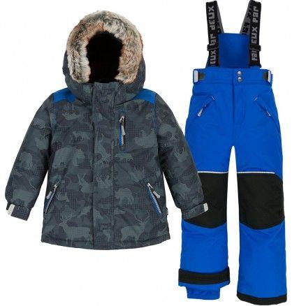 Lavany Little Boys Girls Down Coats Faux Fur Hooded Padded Long Parka Coat Jacket