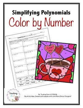 Simplifying Polynomials Color by Number Activity Number