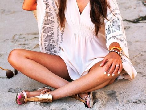 summer beach cover-up dress #outfit #beachy #coverup #swimsuit #pool #shoes #bracelet #relaxed #vacay #vacation