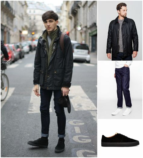 A black field jacket and black skinny jeans feel perfectly suited for weekend activities of all kinds. Let's make a bit more effort now and choose a pair of suede desert boots. Be sure this ensemble is perfect for fluctuating autumn weather.