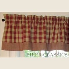 Curtain Red White Check Gingham Double Layered Kitchen Curtain ...