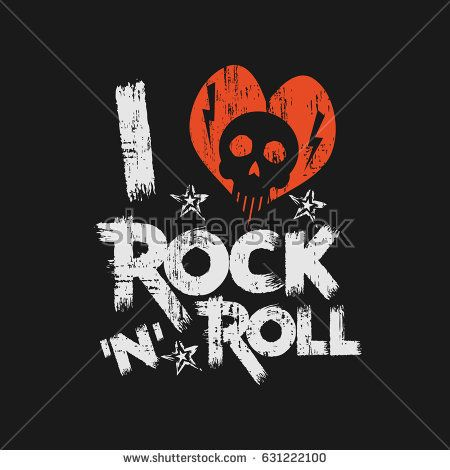 Vector illustration on the theme of rock and roll music. Vintage design. Grunge background. Skull typography, t-shirt graphics, print, slogan, poster, banner, flyer, postcard - compre este vetor na Shutterstock e encontre outras imagens.