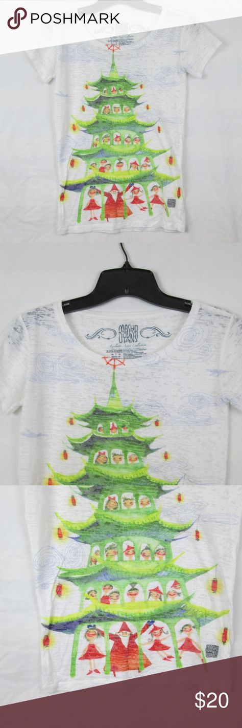 """Masha Dyans Christmas Collection Artist T-Shirt A darling Chirstmas tshirt  Features the Exclusive Artist Collection Christmas Pagoda watercolor. A darling Asian inspired Christmas """"tree"""" complete with Chinese lantern ornaments, children and Santa.   This shirt is thin, burnout style tshirt.   Previously loved,   Feel free to make offers  Gr3-Es2-042818 Masha Dyans Tops Tees - Short Sleeve"""