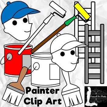 Painters Help Add Life And Color To The Places We Go To Check This Clipart Out Which Shows Some Of The Things Painters Use To Do Their Job Clip Art Art Painter