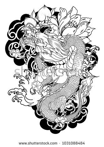 Japanese Old Dragon Tattoo For Arm Hand Drawn Dragon With Peony Flower Lotus Rose And Chrysanthemum Fl Dragon Tattoo Chinese Dragon Tattoos Dragon Illustration