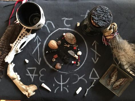 In the frozen energy of January, go boldly forward into the world of spirits, taking your witchery deep into divining the year ahead, learning cleromancy, and turning inward using psychodrama. Hail the Hekate of January, Mistress of Bones, Darkness and Truth!