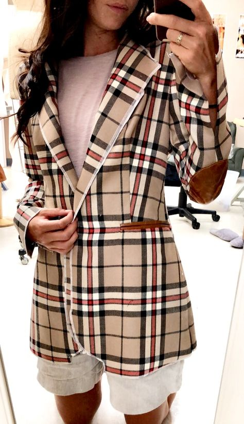 Tan Red Black Tartan Plaid Check Blazer Women's Sport Jacket with Cognac Leather Pockets, Buttons, and elbow patches #blazer #wooljacket #wool #burberry #custommade #leather #leatherpatches #sportcoat #womensblazer #woolcoat #plaidcoat #plaidjacket #fallfashion #falljacket #femalebusinessattire #businessattire #anagrassia #tartan #tartanjacket
