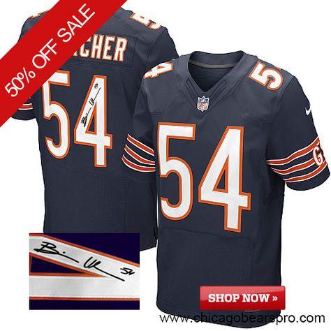 $129.99 Men's Nike Chicago Bears #54 Brian Urlacher Elite Team Color Blue NFL Alternate Autographed Jersey