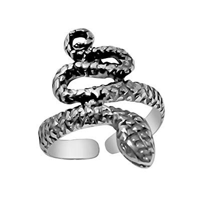 925 Designs Sterling Silver Snake Toe Ring