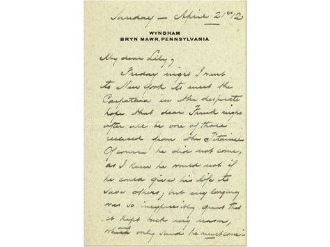 THEODORE ELY CONDOLENCE LETTER:     Theodore Ely condolence letter, 1912  Confusion reigned after Titanic's sinking as wireless operators and the press broadcast rumors. Thirty thousand people—including reporters, relatives of Titanic passengers, and the curious—greeted the rescue ship Carpathia when she docked in New York on April 18, 1912. Via @Postal Museum