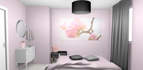 chambre-campagne-chic-romantique-rose-pale-papier-peint-gris-3.jpg ...