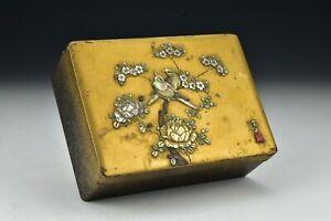Signed Japanese Meiji Period Shibayama Lacquer Box Inlaid Cinnabar Mark