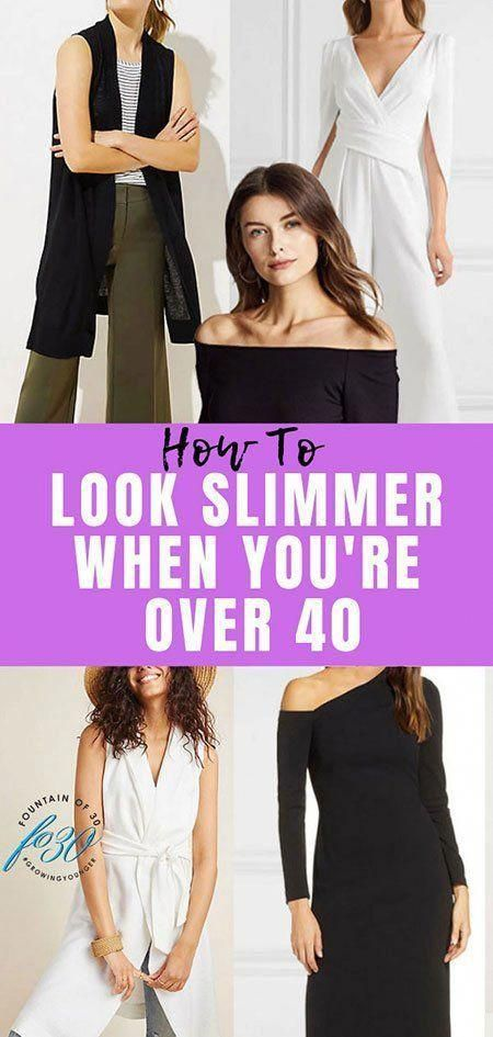 How to look slimmer when you are over 40. #fashion #over40 #whattowear #slimmer #over40style #womensfashionover40whiteblouses