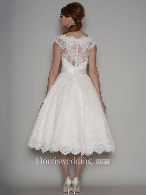 Tea-Length A-Line Cap Sleeve Square Neck Ribboned Lace Wedding Dress - Dorris Wedding