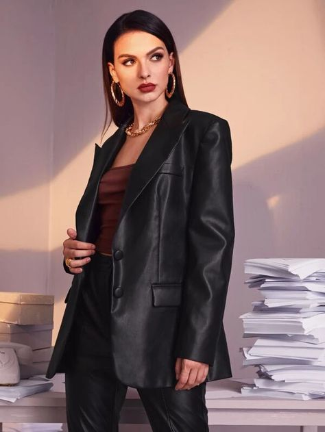 SHEIN Single Breasted PU Leather Blazer