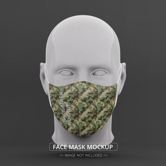 Face Mask Mockup Front View Man Mannequin Woman Face Silhouette Cartoon Faces Expressions Face Mask