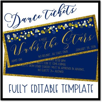 Under The Stars Dance Ticket Template Ticket Template Prom