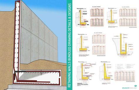 Reinforced Concrete Retaining Walls Bundled Drawing Details In 2020 Concrete Retaining Walls Reinforced Concrete Retaining Wall Construction
