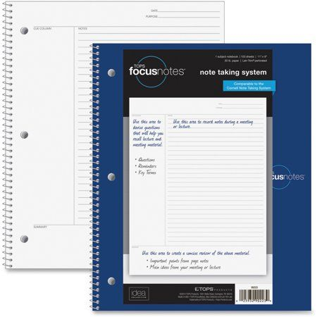 Tops Idea Collective Focusnotes Wirebound Notebook Cornell Notes