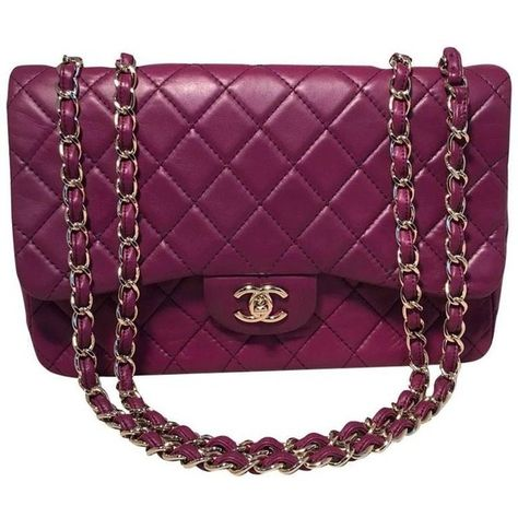 264d4be092c1e1 Preowned Chanel Purple Leather Jumbo Classic Flap Shoulder Bag (£4,425) ❤  liked on