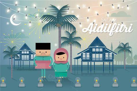 Hari Raya Greeting Template Vector Eid Card Designs Envelope Design Inspiration Greetings