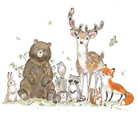 Decor van de kwekerij van het bos | Dragen van herten Fox wasbeer uil | Bos dieren | Woodland wezens | Bos dieren Mijn favoriete bos dieren, bijeen voor een groepsfoto))) Dit is een unieke Woodland Fine Art Print van mijn originele aquarel en gouache schilderkunst. Hier vindt u de
