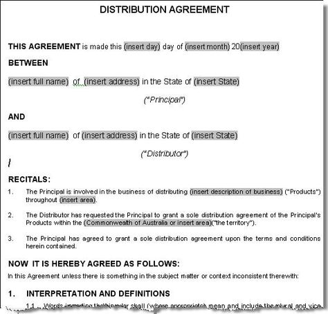 A distribution agreement is a legal agreement between a supplier - commercial loan agreement