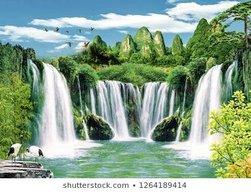 3d Wallpaper Background Design With Natural Landscape And Waterfall For Photomural Scenery Background Natural Scenery Tapestry Wall Art