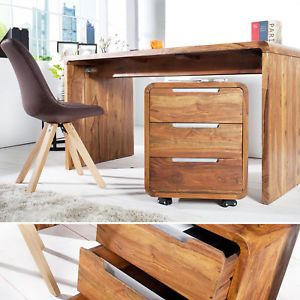 Rollcontainer Schubladenschrank Holz Massivholz Sheesham 60cm Massiv Büroschrank
