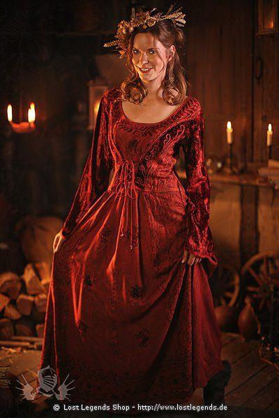 Stilvolles Mittelalterkleid mit Bordüre Mittelalter Kleid Burg Fräulein Gewand