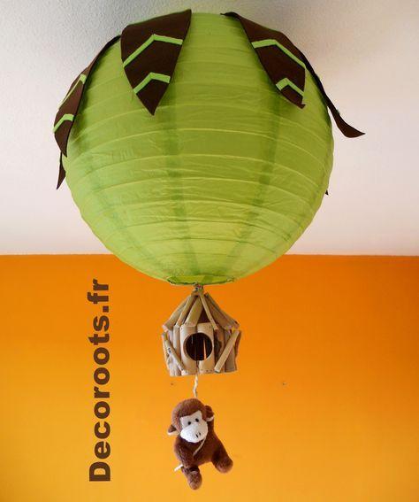 Lustre Didou Le Singe Theme Jungle Vert Anis Et Marron Chocolat En