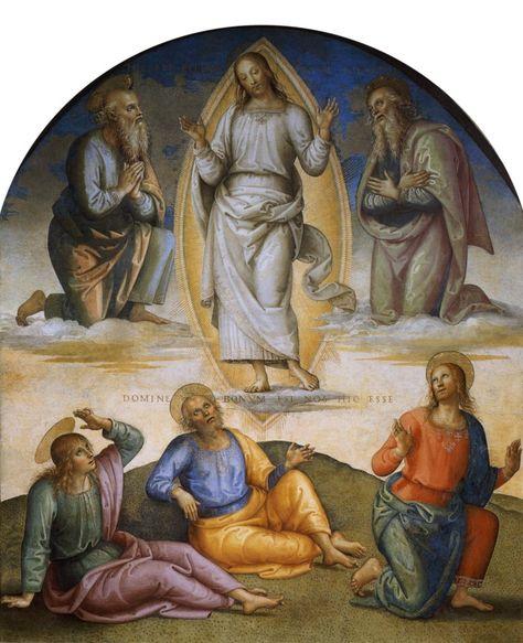 Transfiguration is a wonderful mystery! And Fascinated many artists!  Pietro Perugino, La Pala della Trasfigurazione, 1517   http://www.artiumbria.beniculturali.it/index.php?it/181/galleria-nazionale-umbria