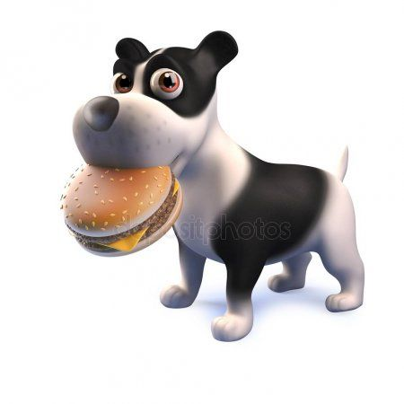 Cute Puppy Black And White Dog Cartoon Character In 3d Eating A Cheese Burger Cartoon Dog Black And White Dog Cute Puppies