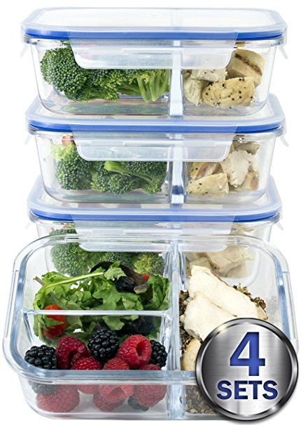 Large Premium 4 Pack 3 Compartment Glass Meal Prep Containers W New Divider Seal Tech Food Container Set Meal Prep Containers Glass Food Storage Containers